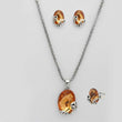 Kriaa Brown Stone Silver Plated Pendant Set With Ring