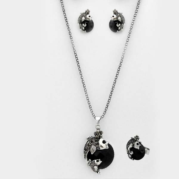 Kriaa Black Stone Dolphin Design Pendant Set With Ring