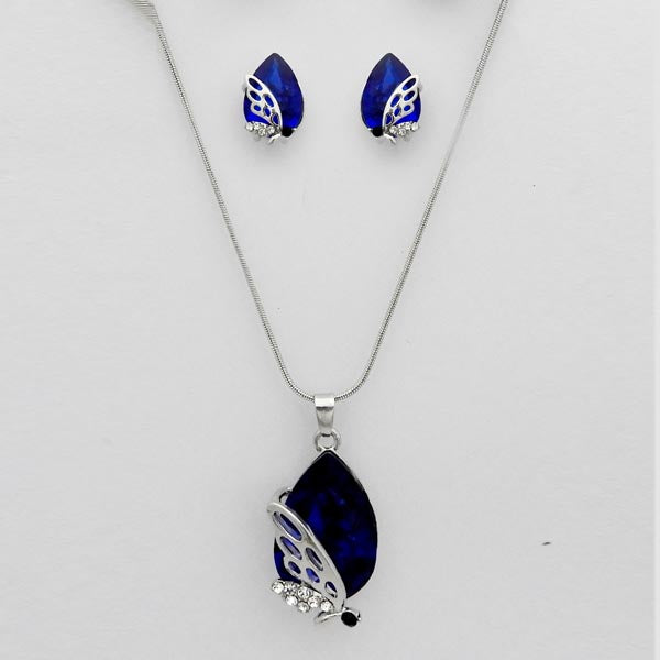 Kriaa Blue Stone Butterfly Design Pendant Set