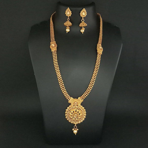 Kriaa Austrian Stone Gold Plated Haram Necklace Set