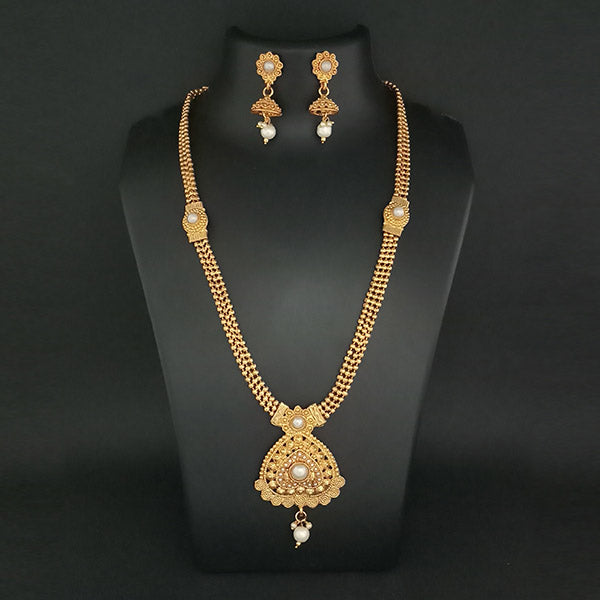 Kriaa Gold Plated Pearl Drop Haram Necklace Set