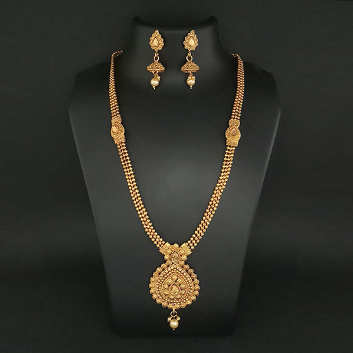 Kriaa Brown Stone Pearl Drop Haram Necklace Set