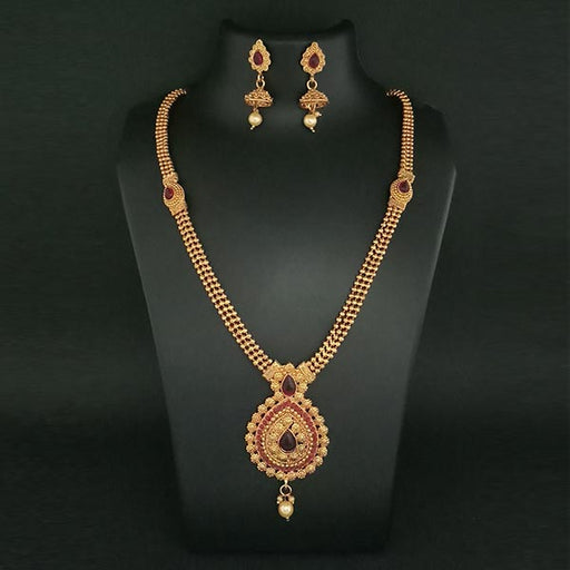 Kriaa Gold Plated Maroon Stone Haram Necklace Set