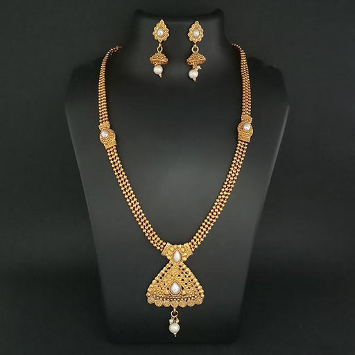 Kriaa Gold Plated Pearl Haram Necklace Set