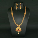 Kriaa Maroon Stone Gold Plated Haram Necklace Set