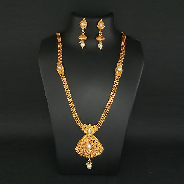 Kriaa Pearl Gold Plated Haram Necklace Set