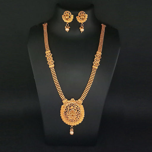 Kriaa Brown Austrian Stone Pearl Haram Necklace Set