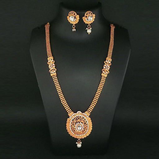 Kriaa Austrian Stone And Pearl Haram Necklace Set