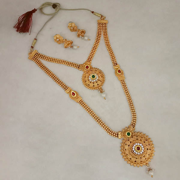 Utkrishtt Gold Plated Austrian Stone Double Necklace Set
