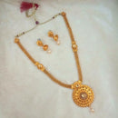 Kriaa Brown Gold Plated Kundan Haram Necklace Set