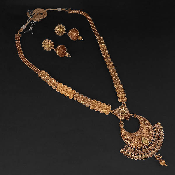 Kriaa Brown Austrian Stone And Kundan Necklace Set