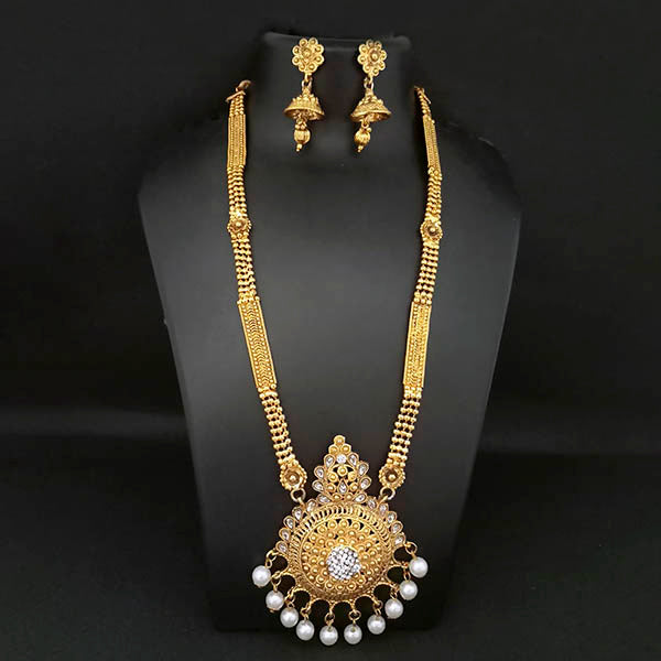Kriaa Gold Plated White Stone And Kundan Necklace Set