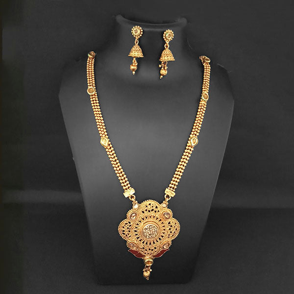 Kriaa Gold Plated Brown Austrian Stone And Kundan Necklace Set