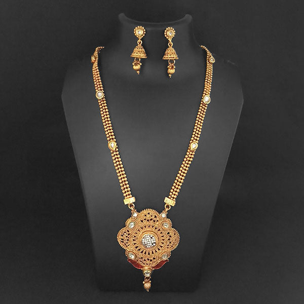 Kriaa Gold Plated White Austrian Stone And Kundan Necklace Set