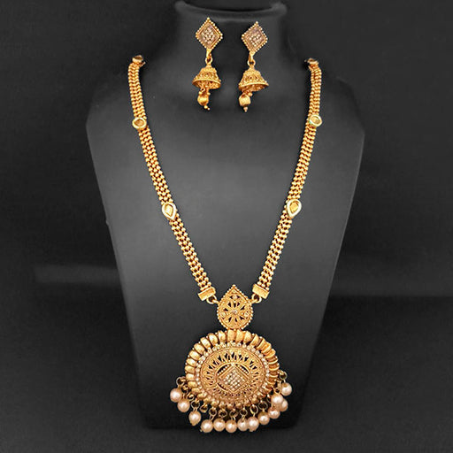Kriaa Gold Plated Brown Austrian Stone And Pearl Necklace Set