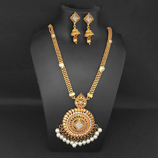 Kriaa Gold Plated White Austrian Stone And Pearl Necklace Set