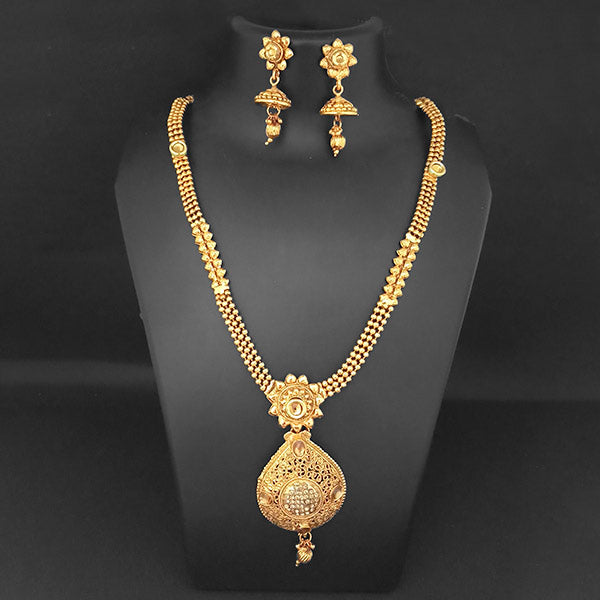 Kriaa Gold Plated Brown Austrian Stone Necklace Set