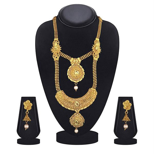Kiaa Gold Plated Brown Kundan Double Layer Necklace Set - 1109870A-CL