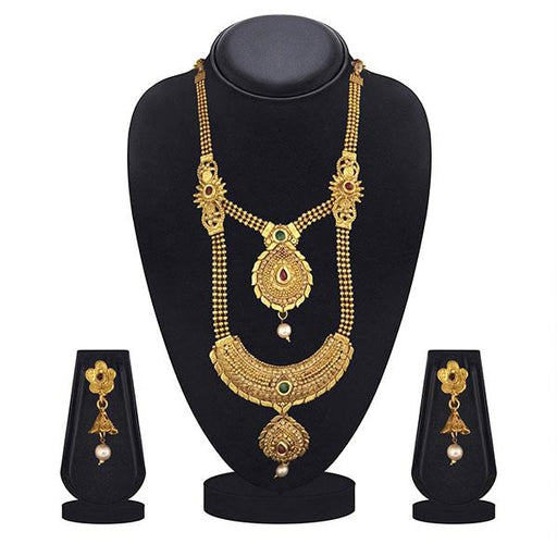 Kriaa Maroon And Green Pota Stone Double Layer Necklace Set - 1109870B-CL