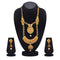 Kriaa Maroon And Green Pota Stone Double Layer Necklace Set - 1109870B