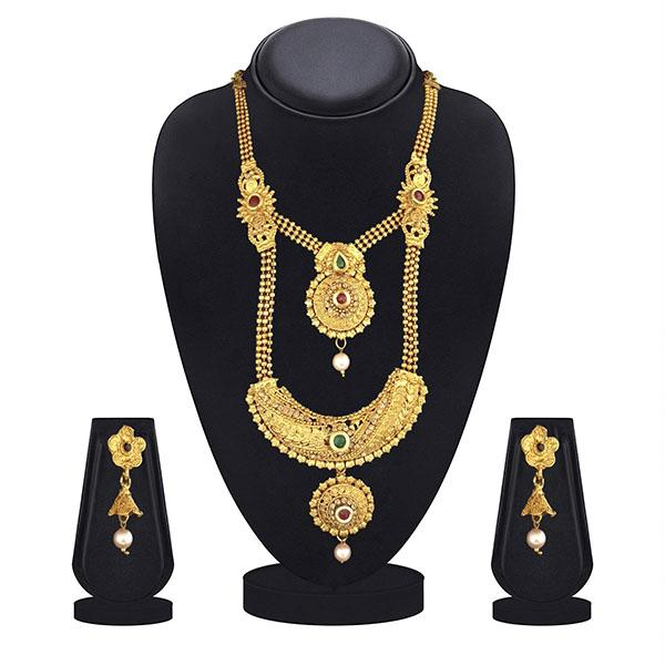 Kriaa Maroon And Green Pota Stone Double Layer Necklace Set - 1109871B-CL