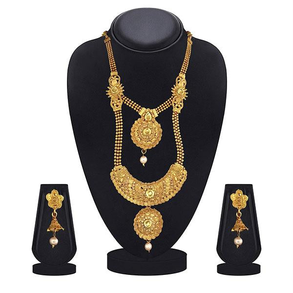 Kiaa Gold Plated Brown Kundan Double Layer Necklace Set - 1109872A-CL