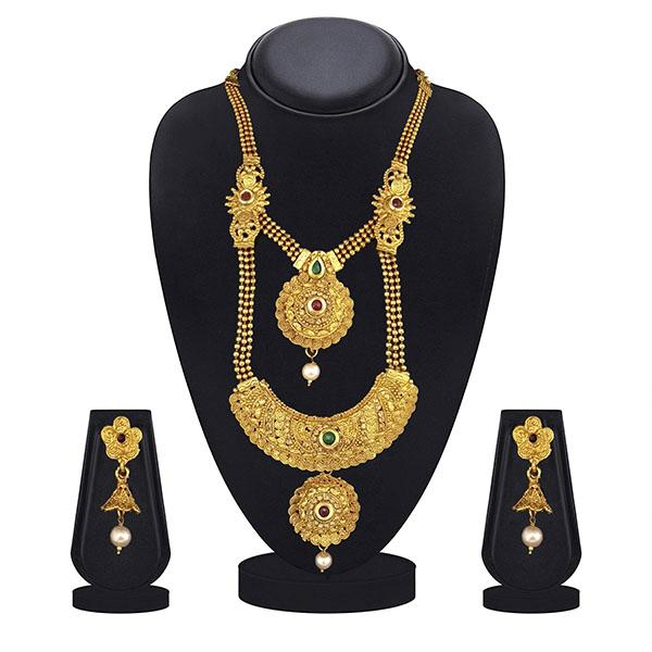 Kriaa Maroon And Green Pota Stone Double Layer Necklace Set - 1109872B-CL