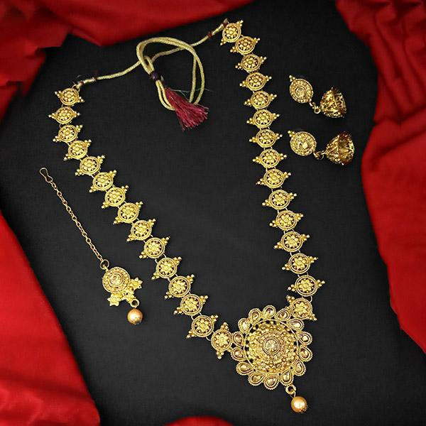 Kriaa Gold Plated Brown Austrian Stone And Kundan Haram Necklace Set With Maang Tikka - 1109874