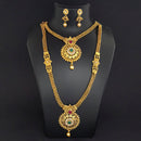 Kriaa Gold Plated Maroon Green Stone Double layer Necklace Set