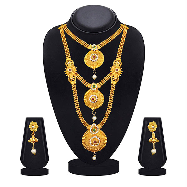 Kriaa Gold Plated Maroon Green Stone Triple layer Necklace Set