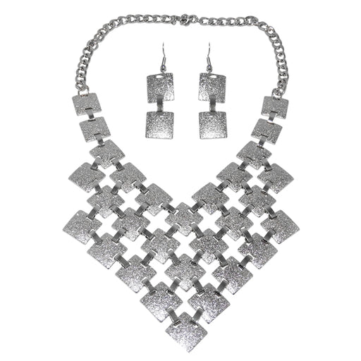 Urthn Rhodium Plated Statement Necklace Set