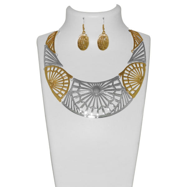 Urthn Silver And Gold Choker Statement Necklace Set