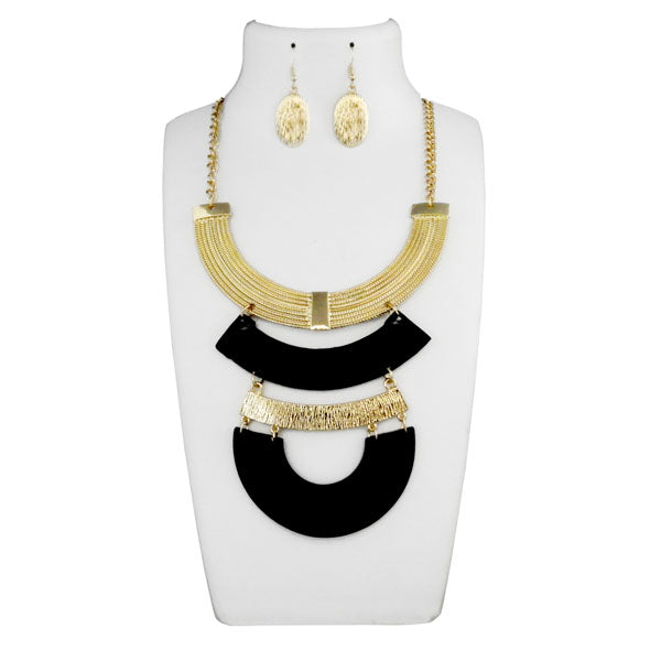 Urthn Gold And Black Long Statement Necklace Set