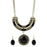 Urthn Black Turquoise Stone Gold Plated Necklace Set