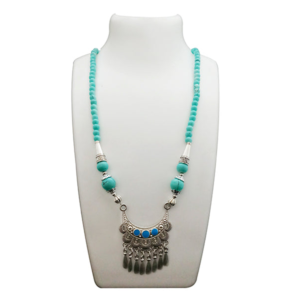 Native Haat Blue Beads Rhodium Plated Statement Necklace