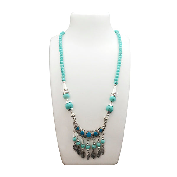 Jeweljunk  Blue Beads Rhodium Plated Statement Necklace