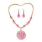 Jeweljunk Austrian Stone Gold Plated Pink Thread Necklace Set
