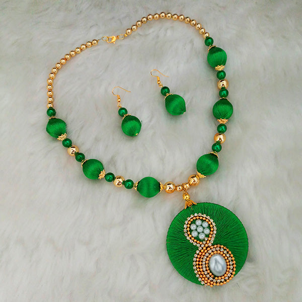 Jeweljunk Green Austrian Stone Gold Plated Thread Necklace Set