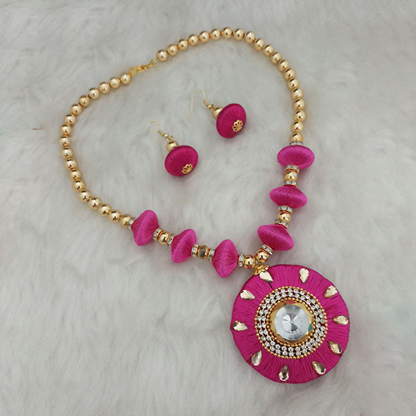 Jeweljunk Gold Plated Austrian Stone Pink Thread Necklace Set
