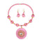 Jeweljunk Gold Plated Pink Beads Thread Necklace Set