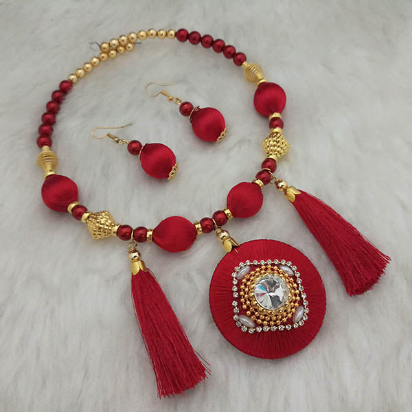 Jeweljunk Gold Plated Austrian Stone Red Thread Necklace Set