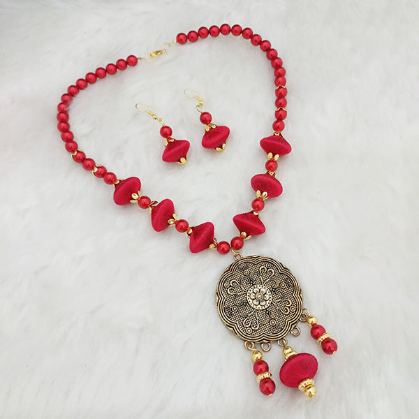 Jeweljunk Red Beads Gold Plated Thread Necklace Set