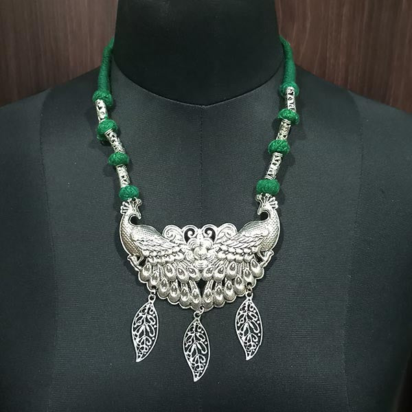 Jeweljunk Rhodium Plated Green Thread Pecock Design Boho Necklace