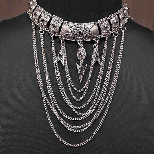Urthn Stone Rhodium Plated Statement Necklace