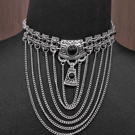 Urthn Pota Stone Rhodium Plated Statement Necklace