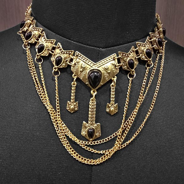 Urthn Antique Gold Black Pota Stone Statement Necklace