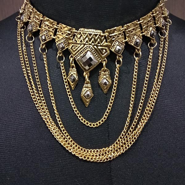 Urthn Stone Antique Gold Statement Necklace