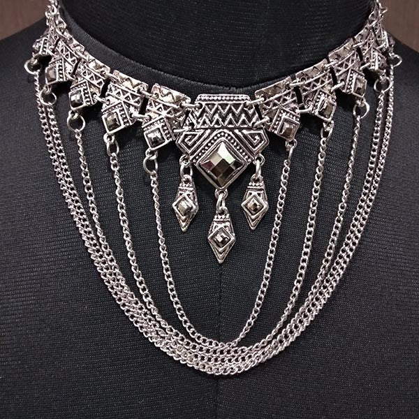 Urthn Rhodium Plated Stone Statement Necklace