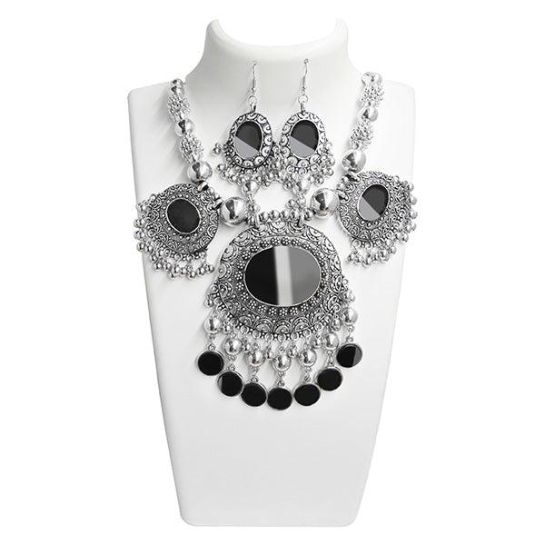 Jeweljunk Rhodium Plated  Navratri Special Necklace Set