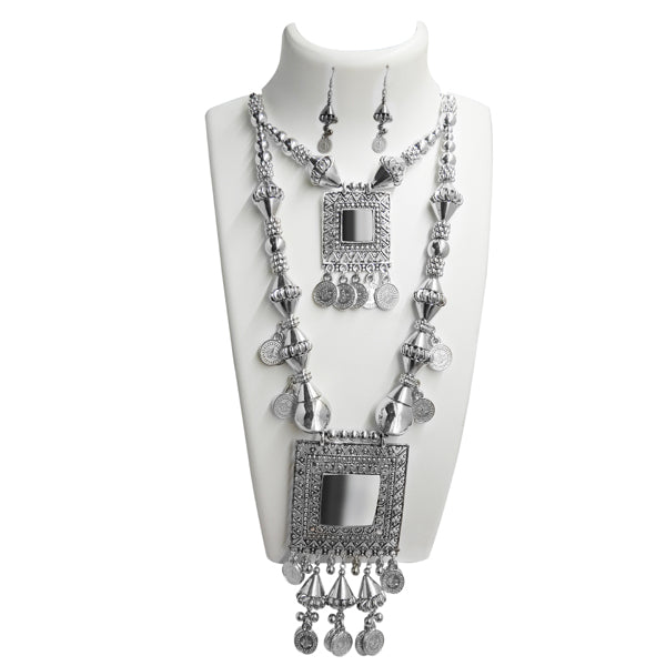 Jeweljunk Rhodium Plated Long Necklace Set